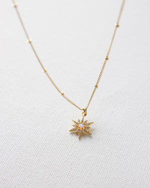 Petite Gold Plate Opal & Cz Star Necklace