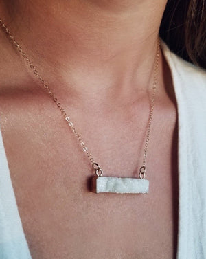 White Druzy rock crystal Necklace