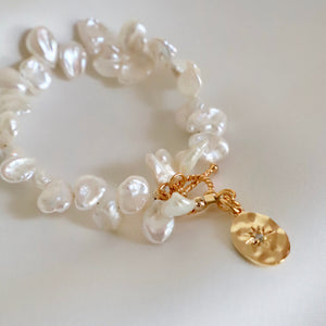 Keshi Pearl And Starburst Bracelet