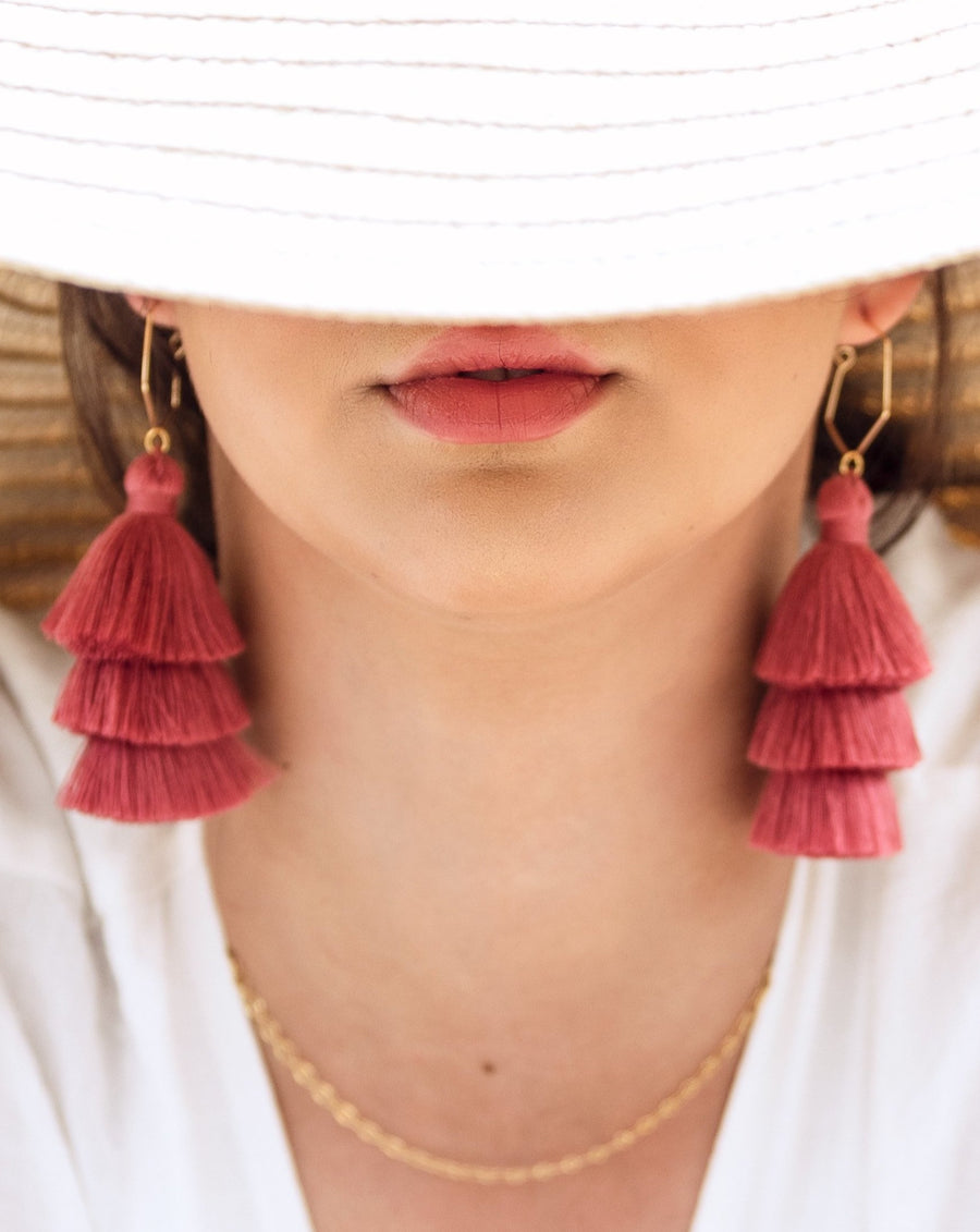 Mariah Pink tassel hoop earrings