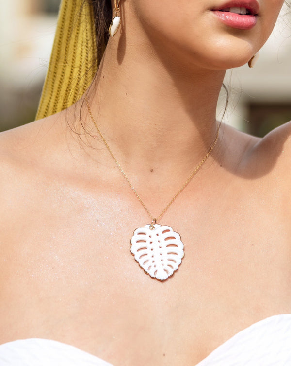 White Monstera Necklace