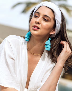 Baby blue tassel hoop earrings