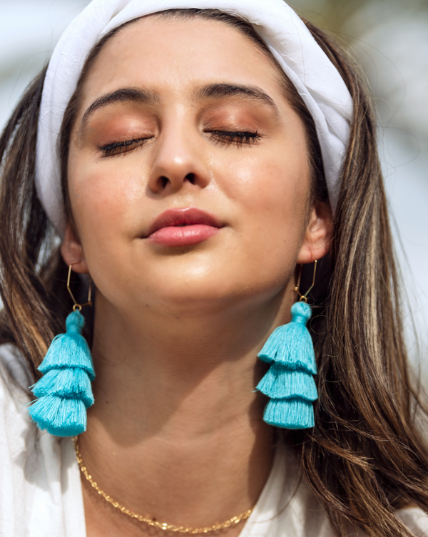 Baby blue color tassel hoop earrings