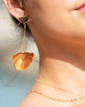 Tassel earrings dangle earrings woman's earrings handmade jewelry gold earrings