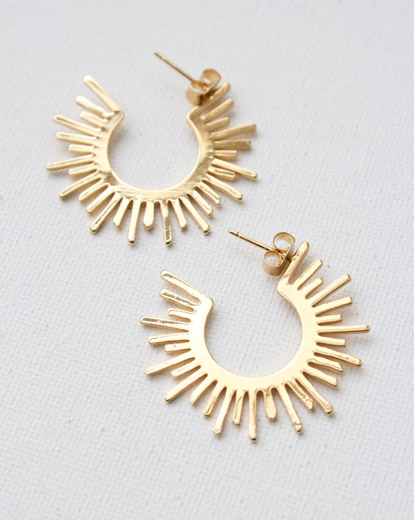Gold earrings, Women's earrings, Women's jewelry, Sun earrings, Moon earrings