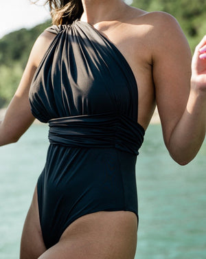 Black one piece swimsuit, tall swimsuit, one piece, women's swimwear, women's one piece