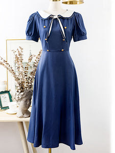 Navy Blue Sailor Collar Puff Sleeve Swing Dress