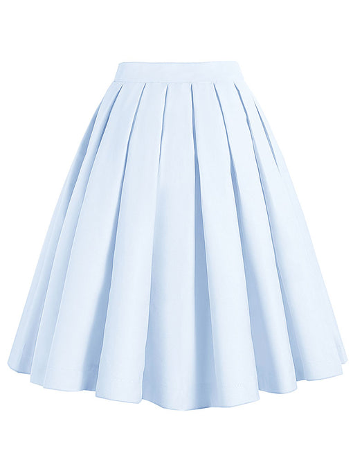 1950S BabyBlue High Wasit Pleated Swing Skirt