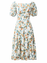 Load image into Gallery viewer, Floral Print Square Collar Puff Sleeve 1950S Dress