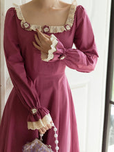 Load image into Gallery viewer, Rose Ruffles Fall Long Sleeve Vintage Cotton Dress