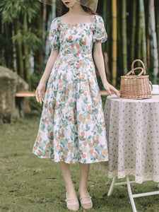 Floral Print Square Collar Puff Sleeve 1950S Dress