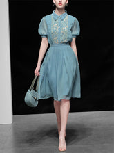 Load image into Gallery viewer, Blue Alice in Wonderland Same Style Embroidered 1950S Vintage Dress Set