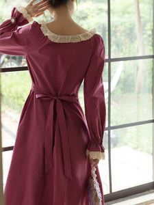 Rose Ruffles Fall Long Sleeve Vintage Cotton Dress