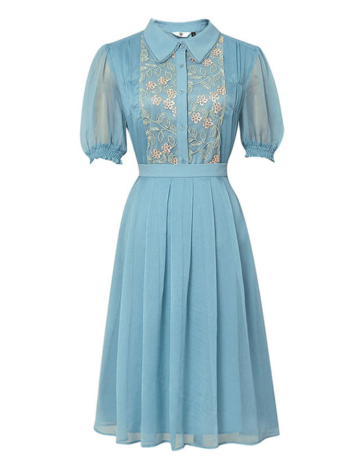 Blue Embroidered 1950S Vintage Dress Set