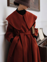 Load image into Gallery viewer, Christmas Red Women's Winter Coat Long Sleeve PeterPan Collar