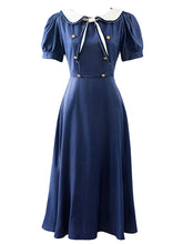 Load image into Gallery viewer, Navy Blue Sailor Collar Puff Sleeve Swing Dress