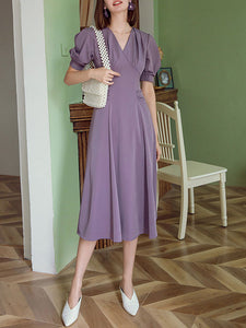 Lavender V Neck Puff Sleeve Swing Vintage Style 1940S Dress