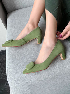 Women's Heels Low Heel Pointed Toe Leather Shoes