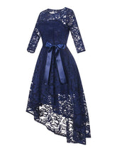 Load image into Gallery viewer, Lace O Neck 3/4 Length Sleeve High Low Hem Vintage Dress
