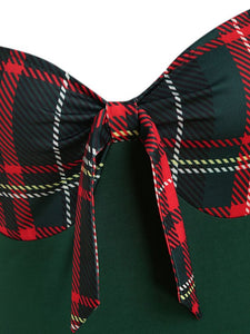1950S Bow Heart Collar Plaid Long Sleeve Swing Dress