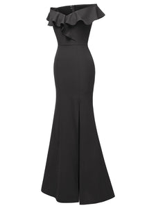 Off the Shoulder Solid Color A line Split Vintage Bodycon Maxi Dress
