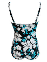 Load image into Gallery viewer, One Piece Floral Design Black Background Swimwear