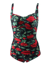Load image into Gallery viewer, One Piece Cross Front Design Rose Floral Solid Background Swimsuit