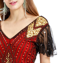 Load image into Gallery viewer, Red Gold 1920s V Neck Sequined Flapper Dres
