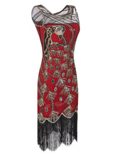 Load image into Gallery viewer, 4 Colors 1920s Peacock Sequined Flapper Dress