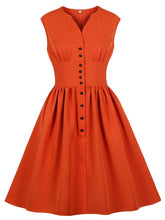 Load image into Gallery viewer, Solid Color V Neck Sleeveless 50s Dress