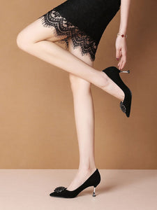Rose Flower 7CM High Heel Platform Pointed Toe Leather Shoes
