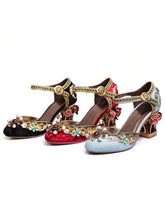 Load image into Gallery viewer, Luxury Floral Gem Studded Heels Ankle Strap Vintage Wedding Shoes