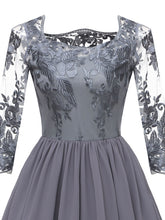 Load image into Gallery viewer, Crewneck Solid Color Embroidered Lace Sheer A line Vintage Dress