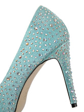 Load image into Gallery viewer, Rhinestone 9.5CM High Heel Platform Pointed Toe Leather Shoes
