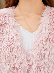 Faux Fur Vest Women Coat Sleeveless Faux Fur Jacket  With Belt