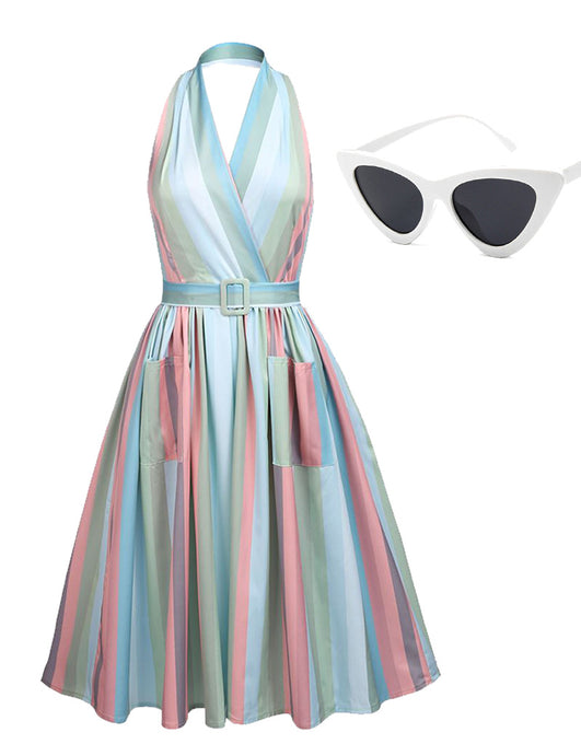 The Marvelous Mrs.Maisel Costume Dress Stripe Vintage Dress Set With Sunglasses