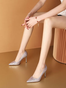 Silver Glitter 9.5CM High Heel Pointed Toe Leather Shoes