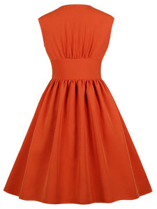 Solid Color V Neck Sleeveless 50s Dress