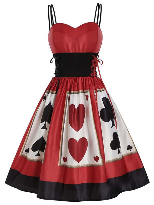 Red Halloween Dress  Spaghetti Strap Poker Printed 1950s Style Dress