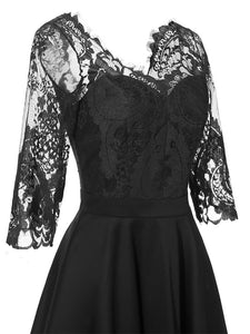 Autumn Long Sleeve V Neck Lace Dress