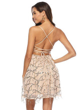 Load image into Gallery viewer, Sequin Spaghetti Strap Cross Back Party Prom Dress