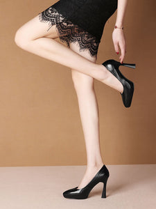 10.5CM High Heel Platform Pointed Toe Leather Shoes