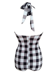 Elegant Type Retro Style Backless Plaid One Piece Swimsuit