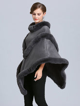 Load image into Gallery viewer, Women Coat Cape Peacoat Faux Fur Collar Poncho