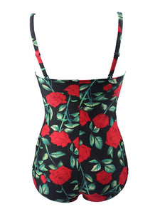 One Piece Cross Front Design Rose Floral Solid Background Swimsuit