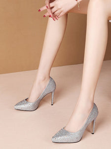 Rhinestone 9.5CM High Heel Platform Pointed Toe Leather Shoes