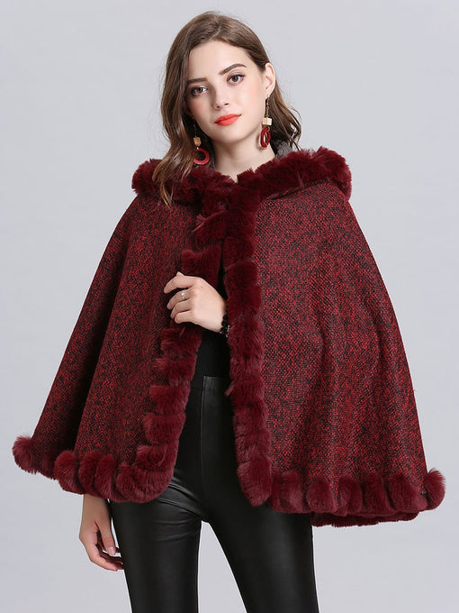 Hooded Winter Coat Faux Fur Long Sleeve Open Front Luxurious Cape Coat For Women