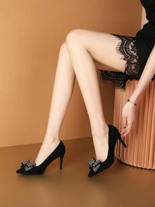 Bow 8CM High Heel Pointed Toe Leather Shoes