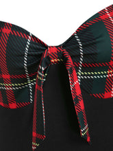 Load image into Gallery viewer, 1950S Bow Heart Collar Plaid Long Sleeve Swing Dress