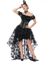 Load image into Gallery viewer, Gothic Costume Halloween Women  Lace  Top Corset And Asymmetrical Skirt